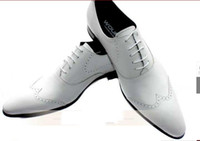 Wholesale WOUFO British white wedding shoes men s genuine leather fashion lace Europe pointed lace up dress bu
