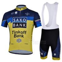 Wholesale Tinkoff Team Short Sleeve Cycling Jersey Cycling wear Bib Shorts Men s Bicycle Cycling Clothing Bike Wear Shirts Outdoor