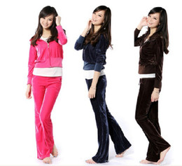 Wholesale Spring and Autumn velvet female sport suit