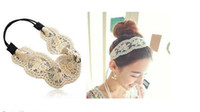 Wholesale Retail Color Wide White Lace Elastic Hairband Embroidery Kniting Women Fashion Headband