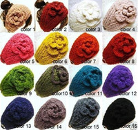 Wholesale HOT SALE Women Knitted Headband with Flower Crochet Headband Handmade tenia Can Mixed Quantuty