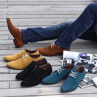 Wholesale Men s fashion pointed toe suede leather dress oxfords designer shoes black blue yellow brown