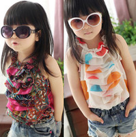 Wholesale baby girls T shirts kids XY children hang neck veil vest girls tee shirt B liy