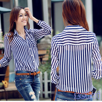 Wholesale Office Lady Button Career Stripe Long Sleeves Tunic Chiffon Shirt New OL Shirts