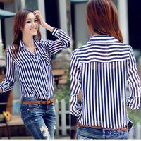 Wholesale Office Lady Button Career Stripe Long Sleeves Tunic Chiffon Shirt New OL Shirts