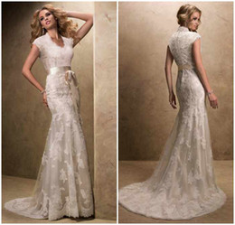 Wholesale 2013 High quality western style closed back v neck floor length sheath sexy wedding dress exquisite