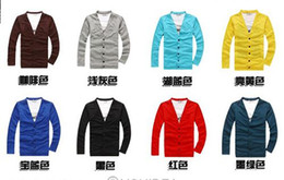 Wholesale spring autumn men s slim Shirt cardigan man collar Knitwear Cardigan colors L XXL