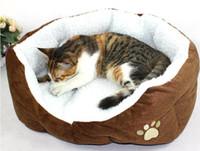 Wholesale Pet Dog Nest Puppy Cat Soft Bed Fleece Warm House Kennel Plush Mat Round