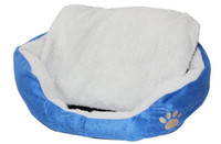 Wholesale DHL Large Pet Dog Nest Puppy Cat Soft Bed Fleece Warm House Kennel Plush Mat Round