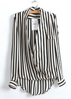 Wholesale NEW ARRIVAL FASHION UNIQUE STYLE PRINT black WHITE CHIFFON STRIPED V NECK SEXY BLOUSE