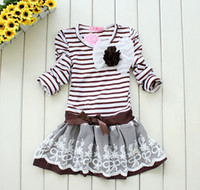 Bow Children China (Mainland) 2012 NEW!! Free shipping, Wholesale Spring 5pcs baby girl striped children lace dress chest with flo