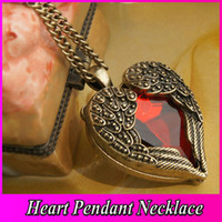 Women's ruby diamond necklace - Vintage Red Diamond Peach Heart Wings Long Necklaces With Ruby Chain Sweater Necklace