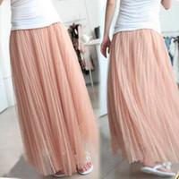 Cheap Vintage Pleat Mesh See through Tulle Full length Long Maxi Skirt Dress