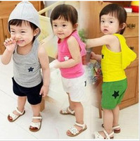 Wholesale Baby boys and girls suit boys and girls stars paragraph piece suit track suit