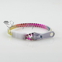 Wholesale assorted color acrylic zipper warp braclets for man and women unisex jewelry
