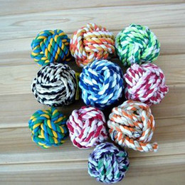 lovely fashion XS-L 8pcs lot lovely Dog Puppy Pet Cotton Braided Bone Rope Chew ball Knot Toy