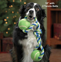 Wholesale lovely Dog Puppy Interactive Pet teeth Cotton Braided Bone Rope Chew drag with two ball tug Toy