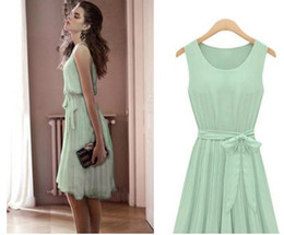 Wholesale hot sell elegant light green knee length sleeveless chiffon dress for temperament woman