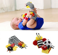 Cloth baby wrist rattle - Lovely Baby Rattle Toys Lamaze Garden Bug Wrist Rattle Foot Socks a Set