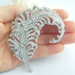 Pretty Bridal Leaf Flower Brooch Pin w Clear Rhinestone Crystals EE05065C1