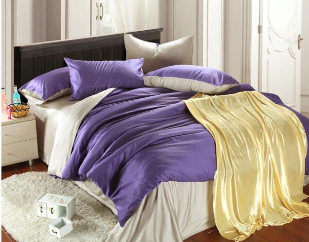 Top Quality 100% Tencel Purple Bedding Sets King Comforter Set ...