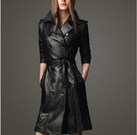 Middle_Length Women's spring coats - New women s Trench Coats Longer section black Furriery Spring and Autumn England Europe and America