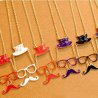 Wholesale 20PCS NEW Moustache Short Necklace Fashion Handlebar Mustache Jewelry Whiskers Glasses Cap Hat