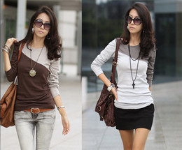 Wholesale 2013 fashion women s Color Block t shirts patchwork Round Neck long sleeved T shirt for Women Color