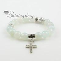 Croix bijoux semi pierre précieuse agate améthyste turquoise jade rose quartz charm bracelets Spsb0151TC0 haute couture