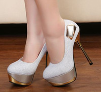 Wholesale 40 women fashion sexy metal platform super high heel PU party club shoes dress shoes