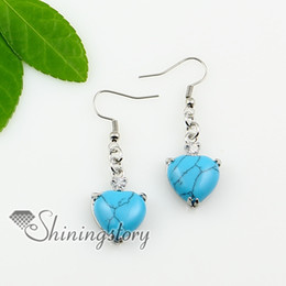 heart teardrop amethyst opal tigereye agate semi precious stone dangle earrings Spse0116TC0 hingh fashion jewellery