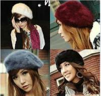 Wholesale Fashion Winter Warm Women Berets Hat Colorful Beret Hat Rabbit Fur Hats Autumn and winter Hat piece Dress