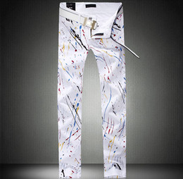 Wholesale 2013 New Men s Jenas Color Printing Jeans White Paint Jeans Bright Young Fashion Jeans High Quality