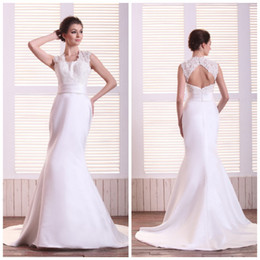 Wholesale Noble lururious lace jacket hole backless A line white taffeta bridal gown wedding dress BD300