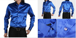 Wholesale New Style Silk Men Long Sleeve Wedding Groom Shirts Colors Bridegroom Shirt Slim and Loose M261