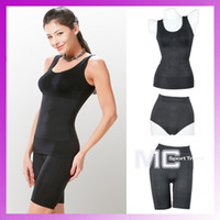 Women Shapewear Bodysuit Firm Infrared Tourmaline 3 Pieces Girdles Body Shaper Body Magic Shapewear Black and Nude Free Shipping
