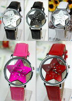 Wholesale 5pcs Transparent Star Pointed Crystal Men Ladies Leather Strap Quartz Wristwatch Fashion Dress Watch