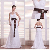 classic wedding dress - BD307 Stunning Halter V neck Wedding Dresses Slim A line Classic Lace Wedding Dress with brown Sash