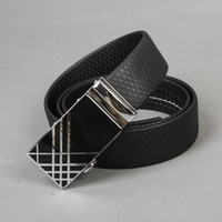 Wholesale Men Check Auto Lock Buckle Black Genuine Leather quot Career Belt BT ML289 SM XXL
