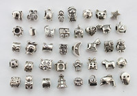 40PCS Assorted antiqued silver euro beads for charm bracelet...