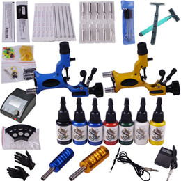 Wholesale Rotary Tattoo Machine Gun Kits LED Power Supply Color Ink Set YLT