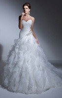 Wholesale Vogue Elegant A Line Sweetheart Watteau Train Beaded Hand Made Flower Organza Wedding Dresses N66