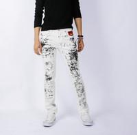 Wholesale 2013 Spring New Splash ink Black and White Jeans Men Slim Korean leisure feet Men s Jeans