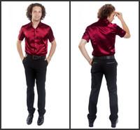 Casual Men Silk Top Quality Men Short Sleeve Wedding Groom Silk Shirts 9 Colors Bridegroom Shirt(Slim and Loose)M276