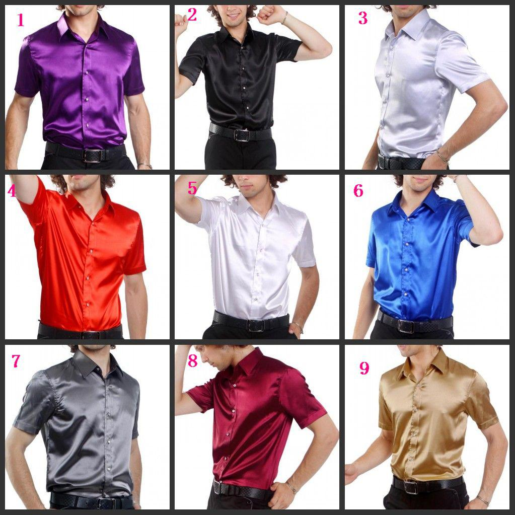 2017 Hot Sale Men Short Sleeve Wedding Groom Silk Shirts ...