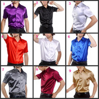 Wholesale Hot Sale Men Short Sleeve Wedding Groom Silk Shirts Colors Bridegroom Shirt Slim and Loose M285