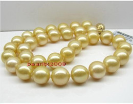 Hot 18 inch 11-12mm Natural REAL south sea golden pearl necklace 14K gold clasp