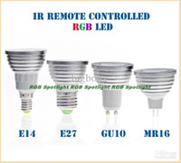 Wholesale GU10 E27 E14 B22 MR16 GU5 MR11 W LED RGB Colour Changing Spotlight Light Bulb