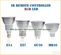 GU10 E27 E14 B22 MR16 GU5.3 MR11 3W RGB LED que cambia de color Spotlight Bombilla