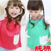 Wholesale 2013 baby girl summer pure cotton skirt dress set with hollow out sleeve baby kids clothing